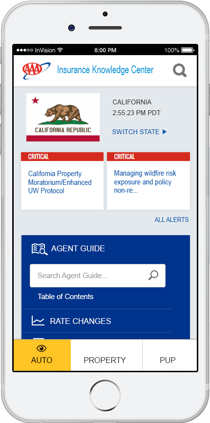 Insurance Knoweledge Center - Agent State Landingpage Mobile